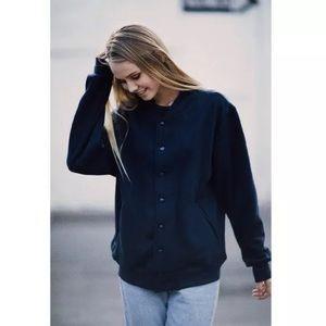Brandy melville black bomber jacket buttons soft!